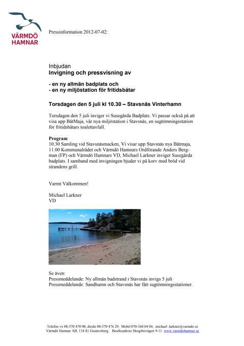 Pressinbjudan till invigning av ny badstrand och tömningsstationer i Stavsnäs, Värmdö