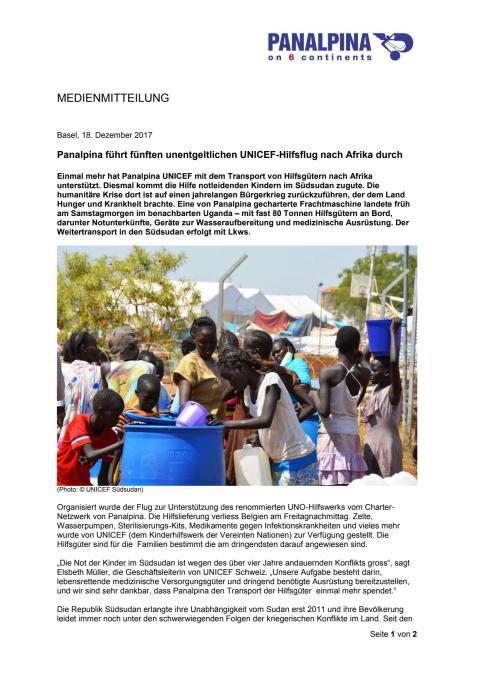 Panalpina führt fünften unentgeltlichen UNICEF-Hilfsflug nach Afrika durch