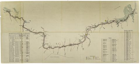 Kart over Nordlandsbanen Riksarkivet: RAFA_2188:Hg:L0001_Mo-Fauske