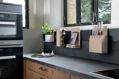 Schmidt køkken egetræ marmor