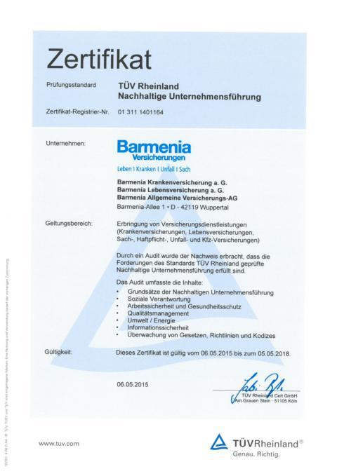 Zertifikat zur Nachhaltigen Unternehmensführung des TÜV Rheinland