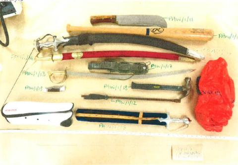 Weapons recovered during the attack