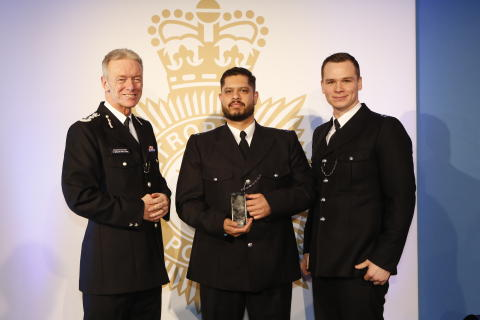 Bravery Award winners PC Shand Panesar (Left) and PC Craig Nicholson (right) with Commissioner