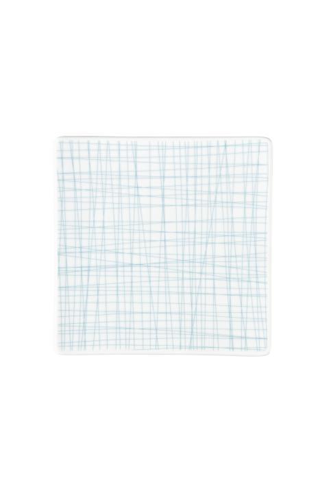 R_Mesh_Line Aqua_Plate 17 cm square flat