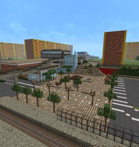 Minecraft-modell över Fisksätra centrumtorg