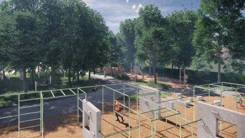 Karslund lekplats parkour visualisering högupplöst