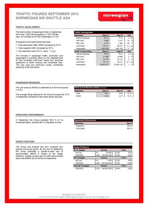 Traffic Figures September 2013
