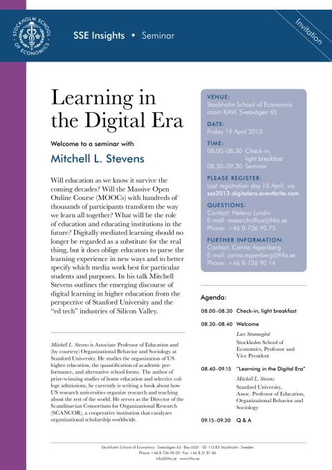 Inbjudan och registrering Learning in the Digital Era