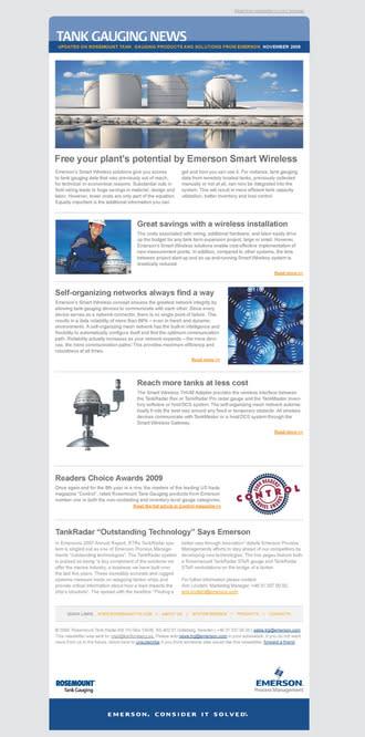 Design av E-nyhetsbrev för Emerson Process Management