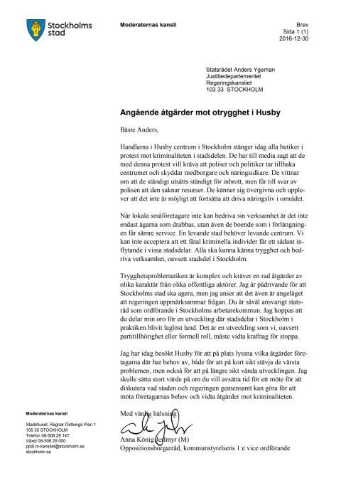 M: Öppet brev till Anders Ygeman om otryggheten i Husby