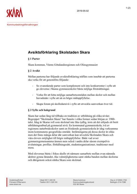 Avsiktsförklaring Skolstaden Skara
