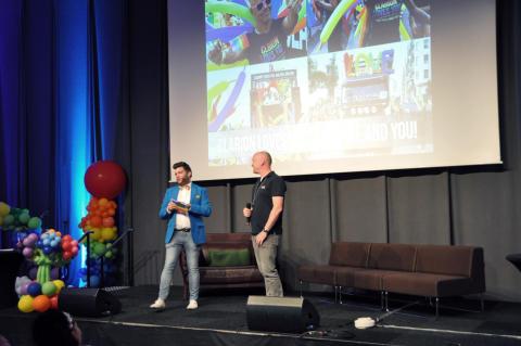 Invigningsevent på Clarion Hotel, här med Christian Gerdes Festivalchef Stockholm Pride.