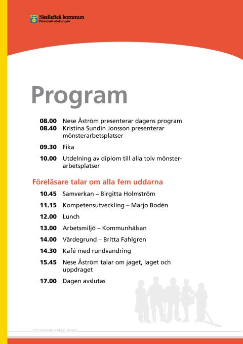 Program för 22 september