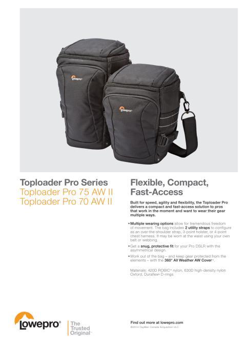 Lowepro Toploader Pro II, datablad