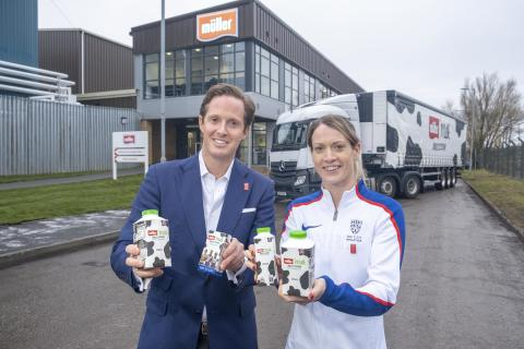 Müller Milk & Ingredients CEO Patrick Müller and Scottish 400 metres hurdles record holder and multiple medallist, Eilidh Doyle at Bellshill Dairy