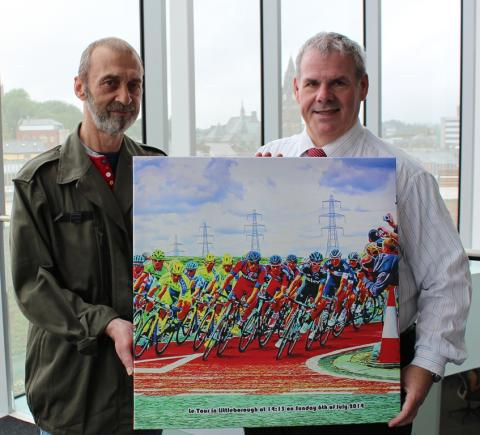 PICTURE THIS (x2): Artist John Cooke presents the picture to Council Leader Richard Farnell.