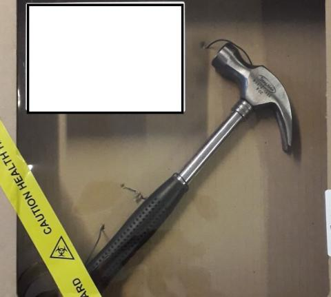 Hammer used in attack