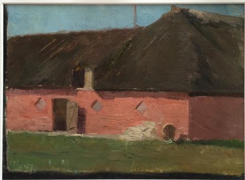 Marie Krøyer, landskap från Borglum med rödkalkad gård, Galleri Claes Moser, Grand Antiques.