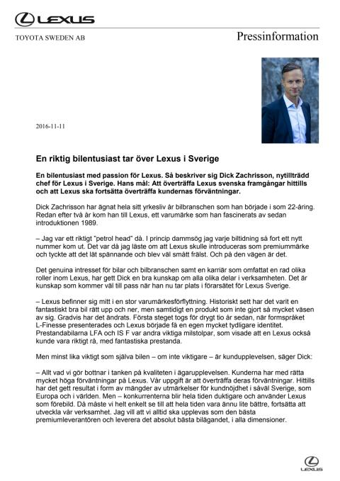Lexus Sverige får ny chef