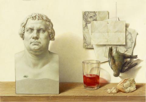 """Zu Tisch mit Martin Luther: """"Logos und Bild"""" von Michael Triegel im Museum der bildenden Künste"""