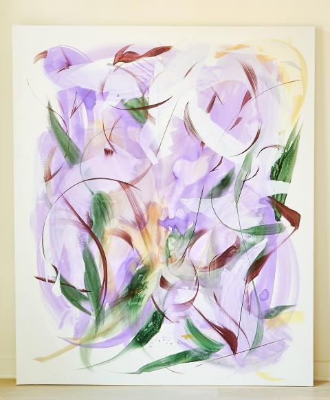 Huang Yanyan, Purple Poem III, 2019. Akryl på duk.