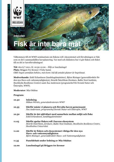 Inbjudan WWFseminarium Fisk är inte bara mat