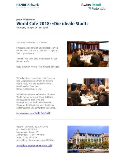 Flyer zum World Café