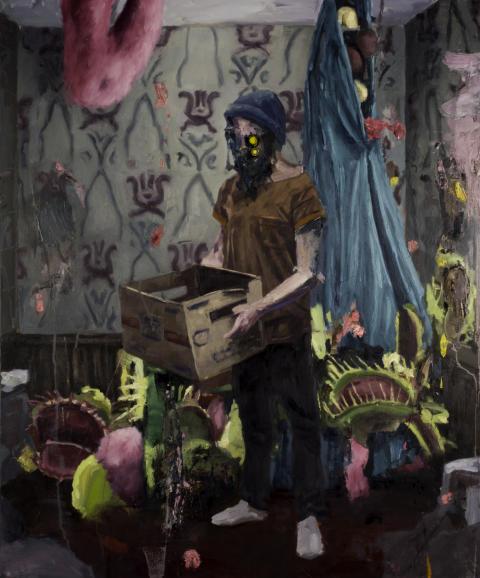 Konstinköp till Göteborgs Stads konstsamling 2019. Björn Camenius, Out of the box (2019). Olja på duk, 100 x 120 cm.