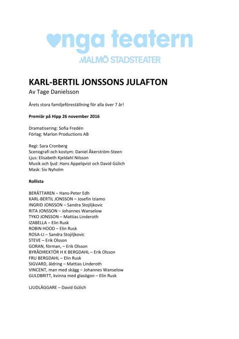 Pressmaterial till Karl-Bertil Jonssons julafton