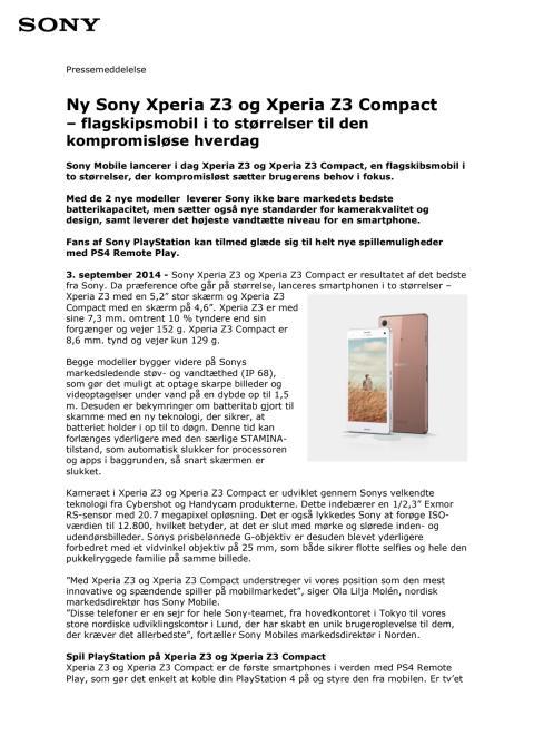 Ny Sony Xperia Z3 og Xperia Z3 Compact