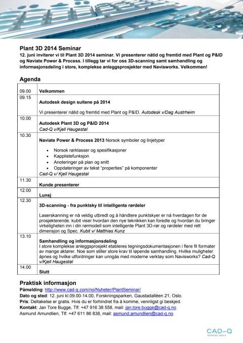 Agenda Plant 3D 2014 Seminar 12.juni 2013
