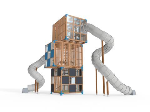 Ny kubistisk lekplats från Lappset bygger på höjden