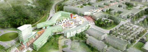 Skissförslag, entréområdet, Örebro universitet
