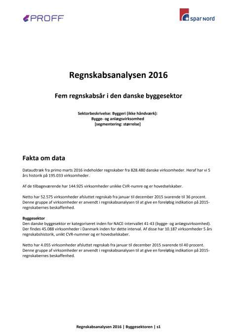 Dansk erhvervsliv - Regnskabsanalyse 2016 - byggesektoren - marts