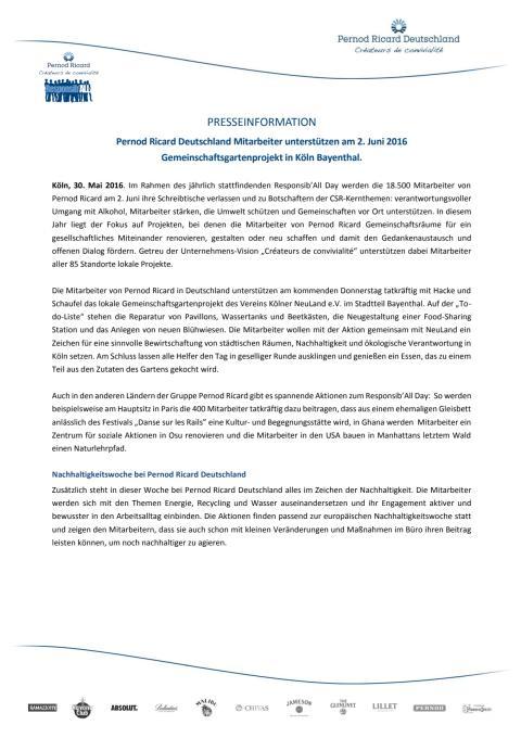 Pernod Ricard Deutschland Mitarbeiter unterstützen am 2. Juni 2016  Gemeinschaftsgartenprojekt in Köln Bayenthal.