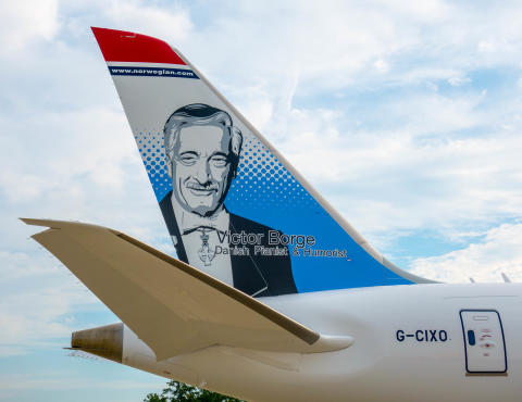 Norwegian ærer Victor Borge på nyeste 787 Dreamliner
