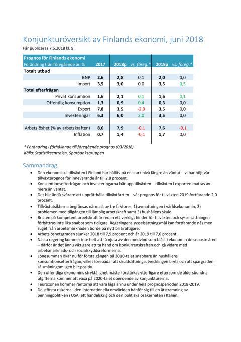 Konjunkturöversikt 2/2018