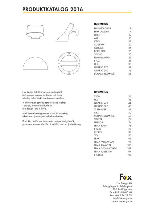 Fox Belysning katalog 2016