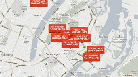 """I oktober tilbyder københavnske cafeer """"fri WiFi med Norwegian"""""""