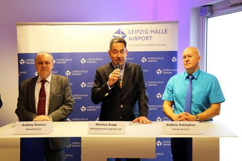 Markus Kopp von der Mitteldeutschen Flughafen AG eröffnete die Pressekonferenz zum Probeda-Erstflug