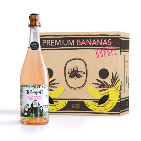 Premiär för bubblor från Tr3 Apor - ett smaksatt bubbelvin i bananlåda