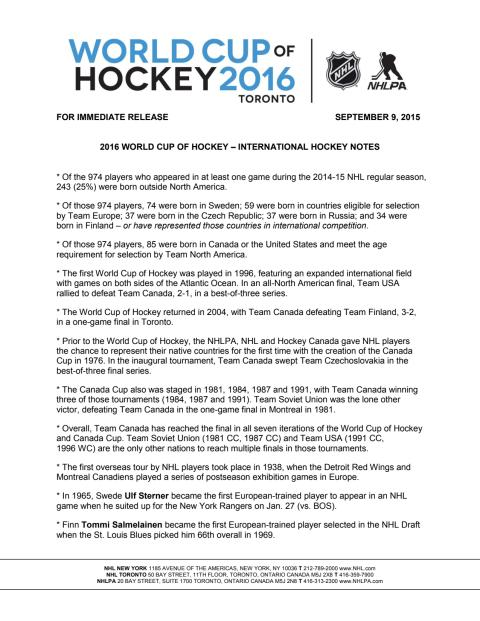 World Cup of Hockey notes