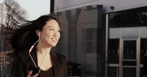 business woman take her on the go calls with the xpuff