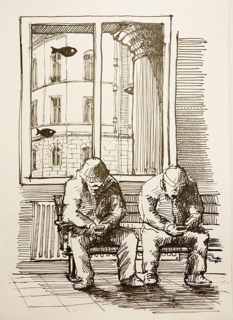 Nassar Alhanouns illustrationer av vardagsmiljön - smala gator i Eskilstuna, typiskt svenska hus, stadens vattenlinje - är minnen i form av bild-fixering av det dagliga livet.