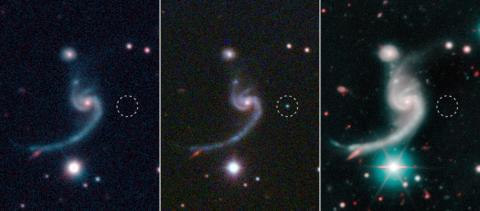 Före, under och efter att den svaga supernovan iPTF14gqr (inringad) dök upp i utkanten av en spiralgalax 920 miljoner ljusår bort. Foto: SDSS/Caltech/Keck.
