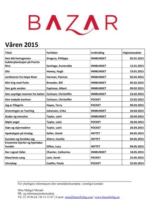Bazar Forlags vårliste 2015