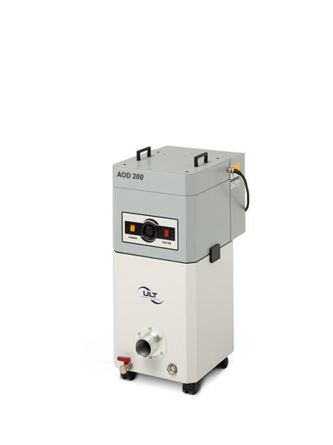 Vid bearbetning av metaller med kylande smörjvätskor frigörs farliga ångor och dimmor. Med luftreningsaggregatet AOD 200 får man snabbt och enkel en bättre arbetsmiljö.