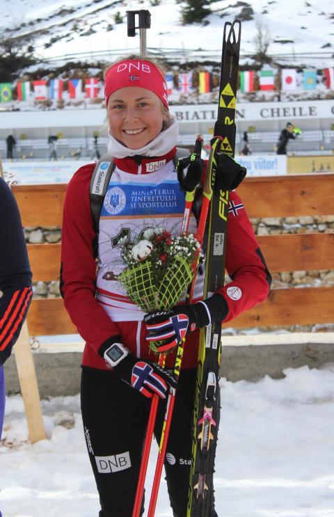 Ingrid Landmark Tandrevold, blomsterseremoni, normalprogram kvinner junior, junior-VM 2016