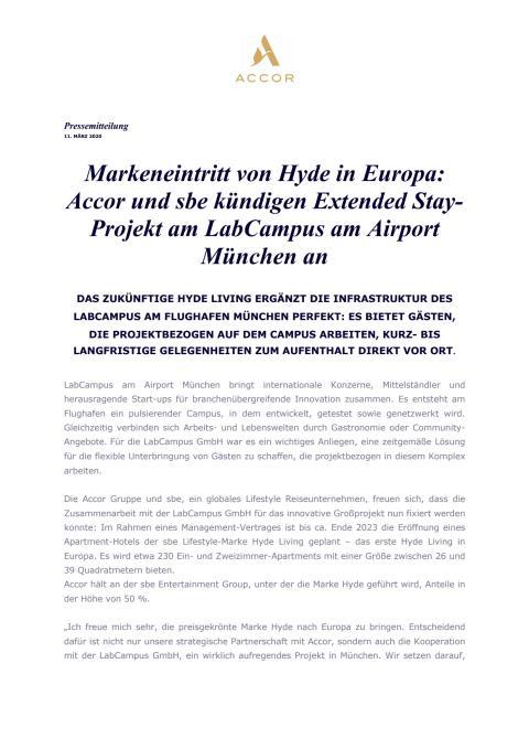 Markeneintritt von Hyde in Europa: Accor und sbe kündigen Extended Stay-Projekt am LabCampus am Airport München an