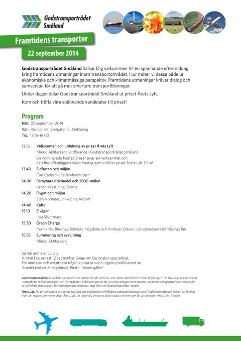 Program 22 september - Framtidens Transporter